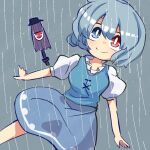 1girl bangs blue_dress blue_eyes blue_hair dress feet_out_of_frame hair_between_eyes heterochromia iroha-kuro karakasa_obake looking_at_viewer puffy_short_sleeves puffy_sleeves purple_umbrella rain red_eyes short_hair short_sleeves smile solo tatara_kogasa touhou umbrella youkai