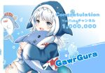 1girl :d animal_hood bangs bloop_(gawr_gura) blue_background blue_eyes blue_hair blue_hoodie character_name commentary_request congratulations eyebrows_visible_through_hair fish_tail gawr_gura grey_nails hololive hololive_english hood hood_up hoodie long_sleeves looking_at_viewer lunacats multicolored_hair nail_polish object_hug open_mouth shark_hood shark_tail sharp_teeth silver_hair sleeves_past_wrists smile streaked_hair stuffed_animal stuffed_shark stuffed_toy tail teeth translation_request virtual_youtuber wide_sleeves