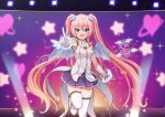 1girl :d angelic_buster bangs bare_shoulders blue_eyes blue_wings blush boots breasts brown_hair commentary_request eyebrows_visible_through_hair gloves glowing gradient_hair hair_between_eyes horns long_hair looking_at_viewer maplestory medium_breasts mini_wings multicolored_hair nekono_rin open_mouth pink_hair pleated_skirt purple_skirt shirt sidelocks skirt sleeveless sleeveless_shirt smile solo standing standing_on_one_leg star_(symbol) thigh-highs thighhighs_under_boots transparent_wings twintails very_long_hair white_footwear white_gloves white_legwear white_shirt wings