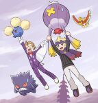 2boys bangs blonde_hair brown_hair cape closed_eyes commentary_request day drifblim eusine_(pokemon) flying gen_1_pokemon gen_2_pokemon gen_4_pokemon gengar hanging highres ho-oh jacket jumpluff legendary_pokemon long_sleeves morty_(pokemon) multiple_boys open_mouth outdoors pants pokemoa pokemon pokemon_(creature) pokemon_(game) pokemon_hgss purple_headband purple_jacket purple_pants sky smile sweatdrop sweater tongue tower white_cape