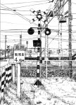 arrow_(symbol) cluseller commentary_request grass greyscale highres monochrome no_humans original outdoors pole power_lines railroad_crossing railroad_tracks scenery sign still_life translation_request