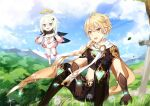 1boy 1girl absurdres aether_(genshin_impact) ahoge belt blonde_hair blue_eyes cape capelet cen_(cenll) clouds dandelion dress earrings flower forest genshin_impact gloves glowing grass hair_between_eyes halo highres jewelry nature navel open_mouth paimon_(genshin_impact) scarf short_hair sitting smile sparkle sword tree weapon white_cape white_capelet white_dress white_hair yellow_eyes