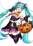 1girl :d alternate_costume animal_ears bangs bare_shoulders basket black_cat black_dress black_footwear black_gloves black_legwear bow breasts candy cat cat_ears cat_tail choker collarbone commentary_request detached_sleeves dress fake_animal_ears fake_tail fang feet_up food frills gloves hair_ribbon halloween hatsune_miku highres long_hair looking_at_viewer open_mouth orange_bow purple_legwear ribbon shoes simple_background smile solo striped striped_legwear tail tasuku_(user_fkzv3343) thigh-highs twintails very_long_hair vocaloid white_background zettai_ryouiki