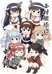 6+girls absurdres ahoge asagumo_(kantai_collection) bangs black_gloves black_hair black_legwear black_serafuku black_skirt blue_eyes braid brown_hair brown_sailor_collar brown_serafuku brown_shorts chibi closed_eyes commentary_request detached_sleeves fingerless_gloves floral_print fusou_(kantai_collection) gloves green_eyes green_neckwear grey_eyes grey_sailor_collar grey_shirt grey_skirt hair_bun hair_flaps hair_ornament hair_over_shoulder hair_ribbon headband highres kantai_collection kneehighs kneeling light_brown_hair long_hair long_sleeves michishio_(kantai_collection) mogami_(kantai_collection) multiple_girls neckerchief official_alternate_costume pleated_skirt ponytail red_eyes red_neckwear red_skirt remodel_(kantai_collection) ribbon sailor_collar school_uniform serafuku shigure_(kantai_collection) shirt short_hair short_twintails shorts sidelocks silver_hair single_braid sitting skirt standing swept_bangs tenshin_amaguri_(inobeeto) thigh-highs translation_request twintails wariza wavy_hair white_headband wide_sleeves yamagumo_(kantai_collection) yamashiro_(kantai_collection)