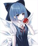 1girl absurdres apple arm_up bangs blue_dress blue_eyes blue_hair bright_pupils cirno commentary dress eyebrows_visible_through_hair food fruit hair_ribbon head_tilt highres holding holding_food holding_fruit kure:kuroha light_blush looking_at_viewer pale_skin pinafore_dress puffy_short_sleeves puffy_sleeves red_ribbon ribbon shirt short_sleeves simple_background smile solo standing touhou upper_body white_background white_pupils white_shirt wings