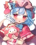 1girl animal_ears bangs bat_wings black_wings blue_bow blue_hair blush bow capelet character_request chikuwa_(tikuwaumai_) commentary_request dress eyebrows_visible_through_hair fake_animal_ears hair_between_eyes hat hat_bow highres hug looking_at_viewer mob_cap parted_lips pink_dress pink_headwear red_capelet red_eyes remilia_scarlet sanrio simple_background sketch touhou upper_body white_background wings wrist_cuffs