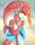 1girl :d agisato commentary_request fins fish_girl flat_chest gem hair_ornament hand_up head_fins jewelry long_hair looking_at_viewer mipha monster_girl multicolored multicolored_skin necklace no_eyebrows open_mouth pointy_ears red_skin redhead smile solo the_legend_of_zelda the_legend_of_zelda:_breath_of_the_wild two-tone_skin upper_body water_drop white_skin yellow_eyes zora