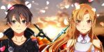 1boy 1girl absurdres asuna_(sao) black_eyes black_hair blurry blurry_background braid breastplate brown_eyes brown_hair collarbone dark_repulser day floating_hair french_braid hair_intakes highres kirito long_hair looking_at_viewer outdoors petals portrait sarasara_shoyu shiny shiny_hair short_hair sword sword_art_online turtleneck very_long_hair weapon