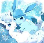 alolan_form alolan_vulpix blue_eyes closed_mouth commentary_request gen_4_pokemon gen_7_pokemon glaceon holding_hands kemoribon looking_at_viewer no_humans pokemon pokemon_(creature) smile snowflakes sparkle white_fur
