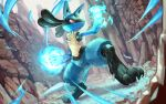 blue_fur canyon closed_mouth commentary_request day energy full_body gen_4_pokemon legs_apart lucario no_humans outdoors paws pokemon pokemon_(creature) red_eyes solo standing sweat tapioka_chaso