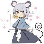 1girl animal_ears arm_behind_back black_dress blush capelet commentary_request dress floral_print grey_hair heart iroha-kuro long_hair mouse_ears mouse_tail nazrin red_eyes shirt short_hair solo tail touhou wavy_mouth white_background white_shirt