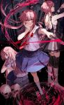 3girls black_dress dress fuuna_(conclusion) gasai_yuno hand_on_own_face highres knife long_hair looking_at_viewer mirai_nikki multiple_girls multiple_persona pink_eyes pink_hair school_uniform skull smile spoilers yandere yandere_trance younger