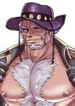 1boy bara bare_chest blue_eyes chest chest_hair coat facial_hair goatee grey_hair hairy live_a_hero male_focus marfik_(live_a_hero) muscle nipples old_man open_clothes open_coat pectoral_focus pikako182 purple_headwear short_hair sideburns solo upper_body