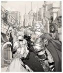1girl 2boys animal_ears armor bangs bare_shoulders braid building cape character_request city closed_eyes closed_mouth collar collarbone dress eyebrows_visible_through_hair final_fantasy final_fantasy_xiv from_behind from_side gloves greyscale hair_between_eyes hands_together highres holding holding_shield holding_staff long_hair looking_at_viewer looking_down monochrome multiple_boys off-shoulder_dress off_shoulder open_mouth outdoors ricemune723623 shield shoulder_armor sky smile staff tail