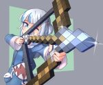 1girl arrow_(projectile) artist_apprentice blue_eyes blue_hoodie bow bow_(weapon) gawr_gura hair_ornament highlights highres holding holding_bow_(weapon) holding_weapon hololive hololive_english hood hoodie light_blush long_hair long_sleeves minecraft multicolored_hair one_eye_closed pocket shark_girl sharp_teeth simple_background smile solo teeth virtual_youtuber weapon white_hair