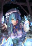 1girl absurdres ahoge beret blue_coat blue_hair breasts clenched_hand coat commentary_request elf eyebrows_visible_through_hair flower fur-trimmed_coat fur_trim hair_between_eyes hair_flower hair_ornament hat heart_ahoge highres hololive huge_filesize ice looking_at_viewer medium_breasts micon night pointy_ears solo staring tree virtual_youtuber white_headwear yellow_eyes yukihana_lamy