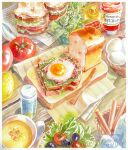 basket bread bread_slice egg food fried_egg fruit ketchup lemon lettuce loaf_of_bread marine-island mustard napkin no_humans original paper plant plate potted_plant salt_shaker sandwich sunny_side_up_egg tomato traditional_media watercolor_(medium) watermark