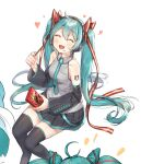 1girl bare_shoulders blue_eyes blush closed_eyes detached_sleeves eyebrows_visible_through_hair hair_between_eyes hatsune_miku headphones heart highres long_hair necktie open_mouth puckjjick_(belbesi19) ribbon simple_background sitting skirt solo tattoo thigh-highs tongue twintails vocaloid white_background