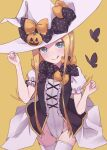1girl abigail_williams_(fate/grand_order) bangs black_bow blonde_hair blue_eyes blush bow breasts fate/grand_order fate_(series) forehead hair_bow kopaka_(karda_nui) long_hair looking_at_viewer multiple_bows orange_bow parted_bangs sidelocks small_breasts