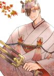 1boy autumn_leaves bangs blue_eyes brown_hair eyes_visible_through_hair fate/grand_order fate_(series) highres holding itokon300 japanese_clothes kimono looking_at_viewer male_focus parted_lips short_hair smile solo swept_bangs tagme upper_body white_kimono yamanami_keisuke_(fate)