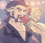2boys ahoge alternate_costume bara beard blue_kimono candy_apple chest collarbone daikoku_(tokyo_houkago_summoners) dark_blue_hair eating facial_hair food forked_eyebrows hogen_(tokyo_houkago_summoners) japanese_clothes kimono male_focus medium_hair multicolored_hair multiple_boys muscle mustache old_man open_mouth orange_eyes rybiokaoru short_hair sideburns stubble thick_eyebrows tokyo_houkago_summoners two-tone_hair white_hair