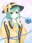 1girl black_headwear blue_eyes blush bow closed_mouth commentary_request expressionless eyeball eyebrows_visible_through_hair frilled_shirt_collar frills gradient gradient_background green_hair green_skirt hat hat_bow highres index_finger_raised komeiji_koishi light_blue_background long_sleeves looking_at_viewer piyoru_nico shirt short_hair simple_background skirt sleeves_past_wrists solo third_eye touhou upper_body wide_sleeves yellow_bow yellow_shirt
