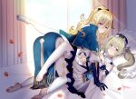 2girls artist_name bangs barbara_(genshin_impact) bed blonde_hair blue_capelet blue_eyes brown_hair capelet caught chinese_commentary closed_mouth commentary_request cross cross_earrings curtains detached_sleeves dress drill_hair earrings genshin_impact hair_between_eyes hat incest jean_gunnhildr jewelry lanelise long_hair looking_at_viewer lying multicolored_capelet multiple_girls on_back on_bed pants pantyhose petals pillow ponytail rose_petals sidelocks tight tight_pants twin_drills white_dress white_headwear white_legwear white_pants white_sleeves yuri