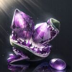 amethyst_(gemstone) cluseller commentary_request crystal gem geode grey_background highres jpeg_artifacts light_particles light_rays no_humans original reflection rock shiny simple_background still_life