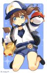 1girl absurdres artist_name backpack bag bangs baseball_cap black_footwear blue_bodysuit blue_eyes blush bodysuit brown_hair closed_mouth commentary_request female_protagonist_(pokemon_go) fingernails floating_hair frown gen_1_pokemon hair_between_eyes hat highres holding holding_poke_ball holding_pokemon jacket long_sleeves pikachu poke_ball poke_ball_(basic) pokemon pokemon_(creature) pokemon_(game) pokemon_go shoes watermark white_jacket zuho_(vega)