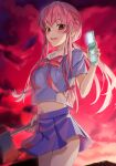 1girl axe bangs blush buta5813 cellphone eyebrows_visible_through_hair flip_phone gasai_yuno highres long_hair mirai_nikki navel open_mouth phone pink_eyes pink_hair ribbon school_uniform weapon yandere
