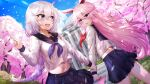 2girls absurdres animal_ears bangs black_sailor_collar blue_eyes blue_skirt blush braid braided_ponytail building character_request cherry_blossoms cropped_shirt eyebrows_visible_through_hair hair_between_eyes highres holding_arm honkai_(series) honkai_impact_3rd index_finger_raised long_hair long_sleeves midriff multiple_girls navel outdoors pink_hair pleated_skirt rabbit_ears sailor_collar school_uniform serafuku shirt skirt sunhyun thighs violet_eyes white_hair white_shirt