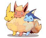 0_0 :3 azuma_minatsu blush closed_mouth commentary_request flareon fur gen_1_pokemon jolteon no_humans paws pokemon pokemon_(creature) smile standing vaporeon white_background x-ray