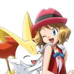 1girl bare_arms blue_eyes blue_ribbon braixen commentary_request eyebrows_visible_through_hair eyelashes gen_6_pokemon hat highres light_brown_hair looking_back monoshiri_hakase official_style open_mouth pink_headwear pokemon pokemon_(anime) pokemon_(creature) pokemon_xy_(anime) ribbon serena_(pokemon) short_hair smile tongue white_background