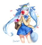 1girl ;d animal_ear_fluff animal_ears bag bangs blue_bow blue_eyes blue_hair blue_skirt blush bow brown_jacket candy candy_wrapper collared_shirt commission cropped_legs eyebrows_visible_through_hair fang food hair_bow heart_lollipop holding holding_candy holding_food holding_lollipop hood hood_down hooded_jacket jacket lollipop long_hair long_sleeves looking_at_viewer marmoset_(marmoset0) one_eye_closed open_clothes open_jacket open_mouth original pleated_skirt shirt simple_background skirt sleeves_past_wrists smile solo striped striped_bow striped_shirt tail twintails vertical-striped_shirt vertical_stripes very_long_hair white_background white_shirt