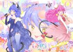 3girls :d animal_ear_fluff animal_ears backless_dress backless_outfit blue_dress blue_gloves blue_hair blue_legwear bow bowtie breasts bun_cover cat_ears cat_tail copyright_name double_bun dress earrings elbow_gloves floating_hair frilled_dress frills from_side gloves hair_ribbon happy_birthday high_heels highres holding holding_microphone jewelry long_hair looking_at_viewer mao_(precure) medium_breasts microphone microphone_stand multiple_girls open_mouth pink_bow pink_dress pink_hair polka_dot polka_dot_legwear precure pumps red_bow red_neckwear ribbon shoe_bow shoes short_dress sleeveless sleeveless_dress smile standing star_twinkle_precure strapless strapless_dress striped striped_ribbon tail thigh-highs tongue tongue_out tuqi_pix very_long_hair white_footwear white_gloves yellow_eyes yellow_legwear yuni_(precure)