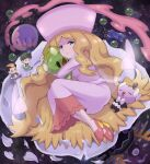 1girl 2boys absurdres aqua_eyes blonde_hair caitlin_(pokemon) commentary_request darach_(pokemon) dress duosion eyebrows_visible_through_hair eyelashes gen_5_pokemon hat high_heels highres holding legs_together long_hair long_sleeves looking_at_viewer multiple_boys musharna parted_lips pink_dress pink_footwear pink_headwear pokemoa pokemon pokemon_(creature) pokemon_(game) pokemon_dppt pokemon_platinum shiny shiny_hair sigilyph solosis star_(sky) thorton_(pokemon)