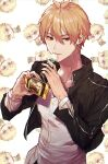 1boy absurdres antenna_hair black_jacket blonde_hair candy cellphone character_request chibi collarbone earrings fate/grand_order fate_(series) food hair_between_eyes highres holding holding_candy holding_food holding_lollipop holding_phone huge_filesize jacket jewelry lollipop long_sleeves male_focus open_clothes open_jacket outline phone red_eyes shirt short_hair simple_background smartphone solo tuze111 upper_body white_shirt