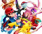 1boy ash-greninja ash_ketchum backwards_hat bangs baseball_cap black_hair blue_jacket brown_eyes butchii closed_mouth commentary_request fingerless_gloves fingernails fire gen_1_pokemon gen_6_pokemon gloves goodra greninja hat hawlucha jacket looking_at_viewer noivern pants pikachu poke_ball poke_ball_(basic) pokemon pokemon_(anime) pokemon_(creature) pokemon_xy_(anime) red_footwear shoes short_sleeves smile talonflame white_background
