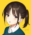 1girl blush brown_eyes brown_hair collared_shirt face looking_at_viewer open_mouth original ponytail shirt signature yellow_background yoshihiro_(yoshihiro12190)
