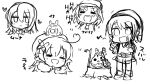5girls ahoge bangs beret braid chibi closed_eyes commentary_request eighth_note eyebrows_visible_through_hair french_braid greyscale hair_between_eyes hat heart heart_ahoge hololive hololive_english hololive_indonesia laughing monochrome moona_hoshinova multiple_girls musical_note ninomae_ina'nis oozora_subaru peaked_cap shirakami_fubuki_(artist) sidelocks simple_background sketch swept_bangs the_legend_of_zelda the_legend_of_zelda:_the_wind_waker watson_amelia white_background yukihana_lamy