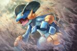 absurdres commentary_request day fins gen_3_pokemon highres kuroi_susumu mud no_humans open_mouth orange_eyes outdoors pokemon pokemon_(creature) swampert tongue