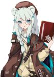 1girl animal_ears arknights bangs bear_ears beret blue_eyes blue_neckwear blush book braid brown_cape brown_headwear cape cardigan commentary_request eyebrows_visible_through_hair hair_ornament hand_up hat hayashi_maka highres holding holding_book istina_(arknights) long_hair long_sleeves looking_at_viewer monocle necktie parted_lips partial_commentary silver_hair simple_background single_braid solo star_(symbol) star_hair_ornament upper_body white_background