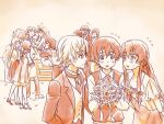 akise_aru amano_yukiteru blush bouquet character_request dress eyepatch flower gasai_yuno hino_hinata kousaka_ouji kurusu_keigo mirai_nikki multiple_boys multiple_girls ndo2 nishijima_masumi nonosaka_mao official_style uryuu_minene wedding wedding_dress