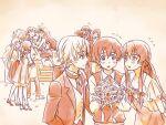 akise_aru amano_yukiteru blush bouquet character_request dress eyepatch flower gasai_yuno hino_hinata kousaka_ouji kurusu_keigo mirai_nikki multiple_boys multiple_girls ndo2 nishijima_masumi nonosaka_mao official_style uryuu_minene wedding wedding_dress