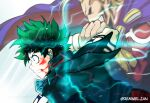 2boys absurdres all_might blonde_hair blood blood_on_face boku_no_hero_academia cape clenched_teeth facing_to_the_side freckles gradient_hair green_eyes green_hair green_jacket grin hand_on_another's_arm highres huge_filesize jacket lightning male_focus midoriya_izuku motion_blur multicolored_hair multiple_boys muscle remumeru short_hair simple_background smile superhero teeth upper_body