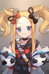abigail_williams_(fate/grand_order) black_bow blonde_hair blue_eyes bow breasts cosplay fate/grand_order fate_(series) forehead highres long_hair miya_(miyaruta) multiple_bows orange_bow sei_shounagon_(fate) sei_shounagon_(fate)_(cosplay) sidelocks small_breasts smile twintails