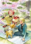 2boys afro blanket blonde_hair blue_jacket commentary_request day flareon flint_(pokemon) gen_1_pokemon index_finger_raised jacket jolteon long_sleeves looking_up multiple_boys open_mouth outdoors pants pokemon pokemon_(game) pokemon_dppt pokipoki redhead shirt sitting smile spiky_hair spring_(season) teeth tongue tree volkner_(pokemon) yellow_shirt