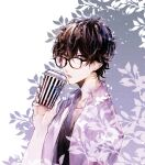 1boy amamiya_ren bangs black-framed_eyewear black_hair cup disposable_cup glasses grey_eyes hair_between_eyes holding holding_cup male_focus open_mouth persona persona_5 shirt simple_background solo sweat two-tone_background upper_body white_shirt yuu_(isis7796)