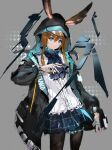 1girl amiya_(arknights) animal_ears arknights black_coat blouse blue_eyes blue_neckwear blue_skirt brown_hair brown_legwear closed_mouth coat contrapposto cowboy_shot cravat ears_through_headwear hand_up highres hood hood_up hooded_coat jewelry long_sleeves looking_at_viewer miniskirt open_clothes open_coat pantyhose rabbit_ears ring sidelocks skirt so-bin solo standing white_blouse