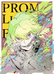 1boy background_text bangs breathing_fire character_name copyright_name cravat earrings fire frilled_shirt_collar frills green_hair hair_between_eyes highres hiranko jacket jewelry lio_fotia looking_at_viewer male_focus open_mouth pink_eyes promare short_hair solo spot_color teeth upper_body